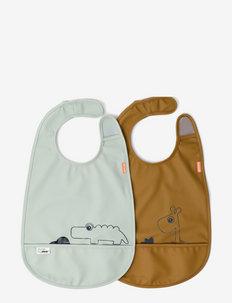 Bib w/velcro 2-pack Deer friends - smekke - mustard/green