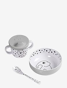 First meal set Happy dots - zestawy obiadowe - grey