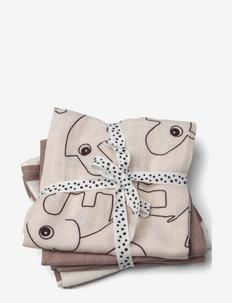 Burp cloth 3-pack Deer friends - muslins - powder