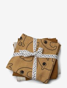 Burp cloth 3-pack Deer friends - musselinklær - mustard