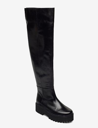 MODERN COOLNESS tall combat - long boots - pure black