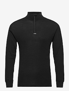 Dovre Wool 1/1 ærme & Zipper - truien met halve rits - black
