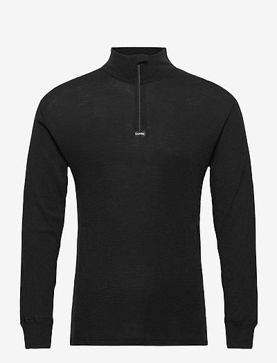 Dovre Wool 1/1 ærme & Zipper - pulls demi-zip - black
