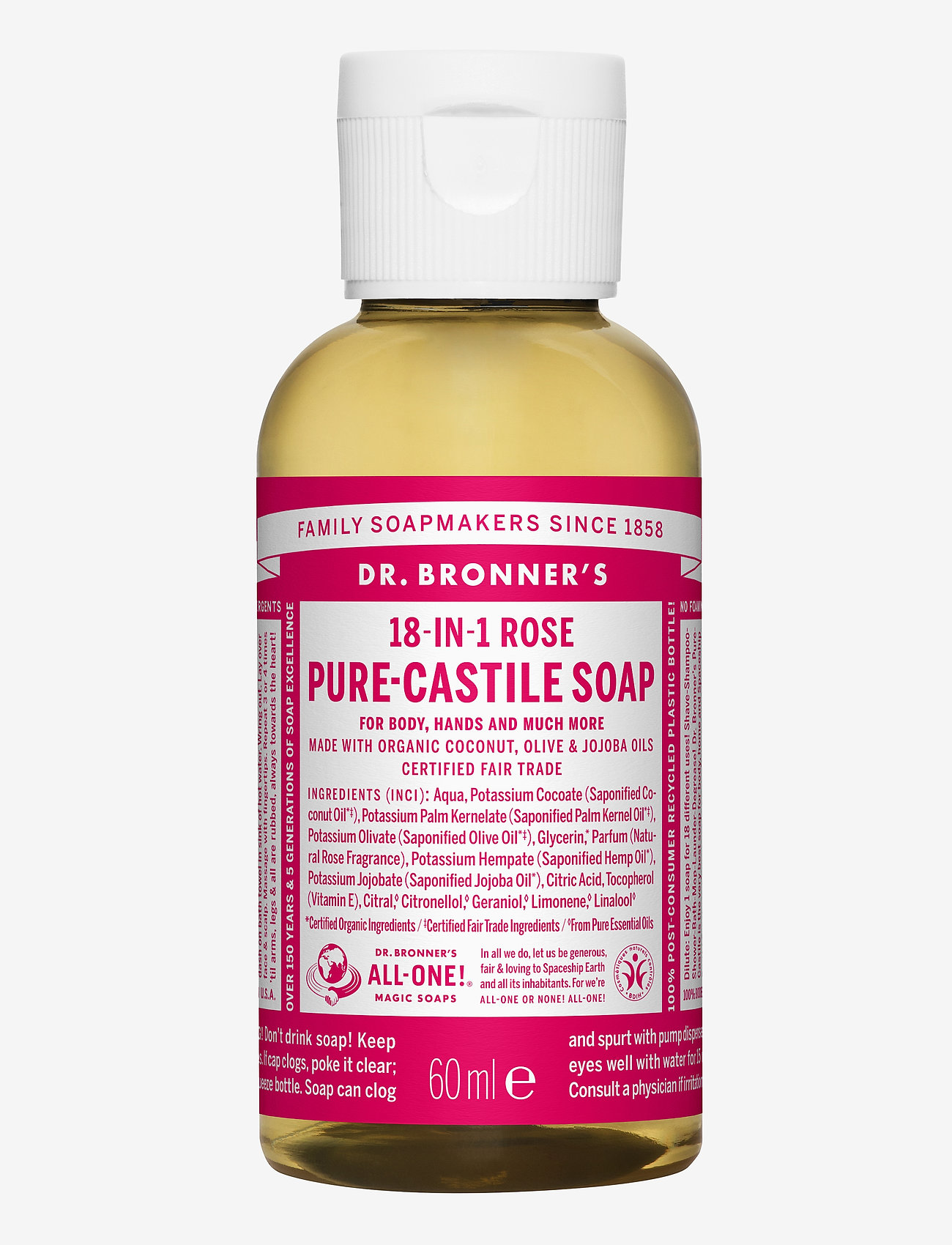 Dr. Bronner's - 18-in-1 Castile Liquid Soap Rose - handvård - no colour - 0