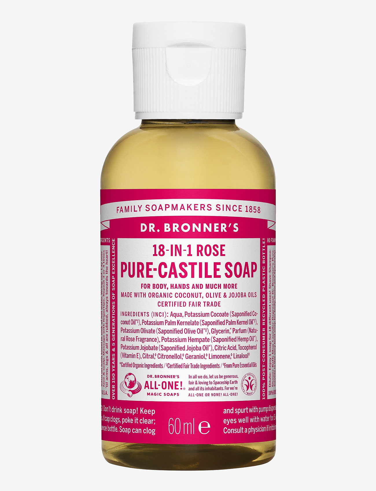 Dr. Bronner's - 18-in-1 Castile Liquid Soap Rose - handtvål - no colour - 0