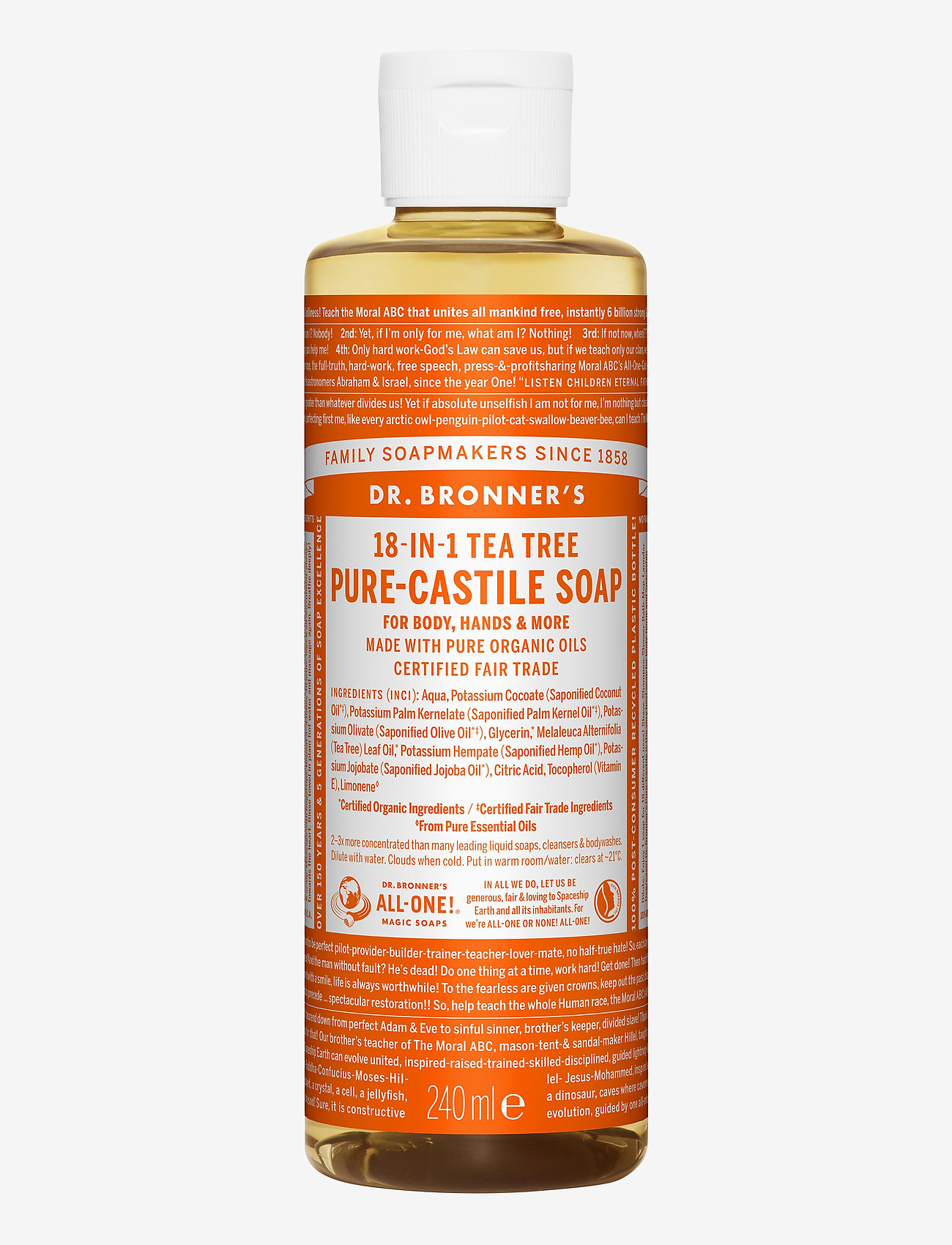 Dr. Bronner's - 18-in-1 Castile Liquid Soap Tea Tree - handtvål - no colour - 0