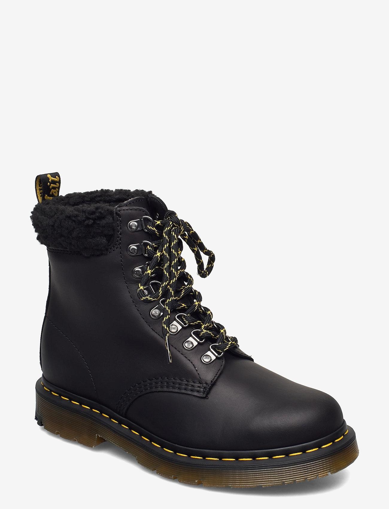 Dr. Martens - 1460 Collar Black Snowplow Wp+Borg Fleece - platte enkellaarsjes - black - 0