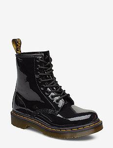 1460 W Black Patent Lamper - platta ankelboots - black