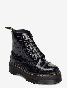 Sinclair Black Patent Lamper Croc Emboss - flate ankelstøvletter - black