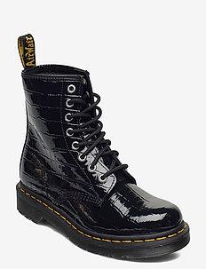 1460 W Black Patent Lamper Croc Emboss - flate ankelstøvletter - black