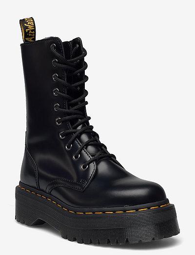 Jadon Hi Black Polished Smooth - platta ankelboots - black