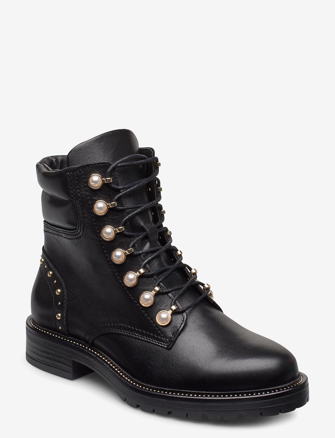 Dune London - Pearley - wysoki obcas - black leather - 0
