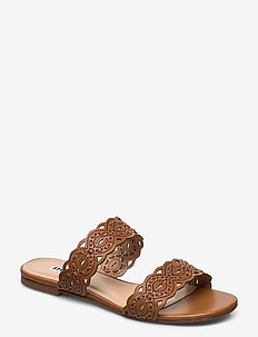 Lauretta - platta sandaler - tan-leather