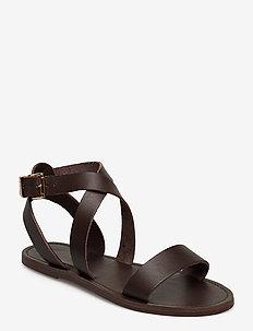 Leelah - platta sandaler - dark brown-leather