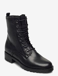 Prestone - ankelstøvler med hæl - black leather