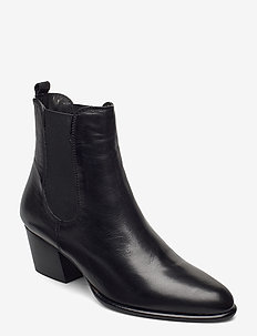 Pattersson - ankelboots med klack - black leather
