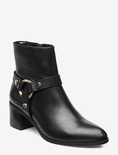 PIPKIN - ankelstøvletter med hæl - black-leather