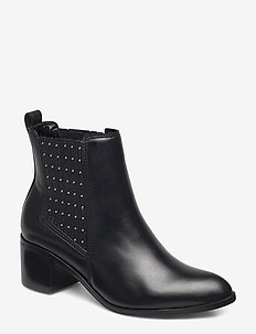 PLAZA - ankelstøvler med hæl - black-leather