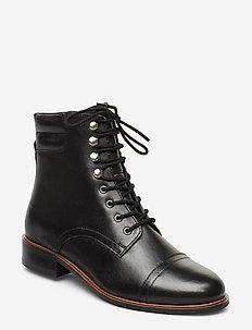 PITCH - flate ankelstøvletter - black-leather
