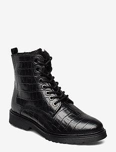 PARKLAND - flate ankelstøvletter - black-croc_print_leather