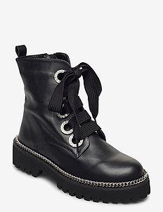 Pavvillion - flate ankelstøvletter - black leather