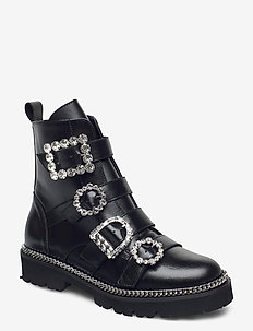 Pagola - flate ankelstøvletter - black leather