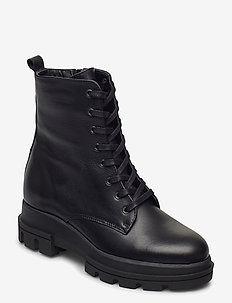 Parque T - flate ankelstøvletter - black leather