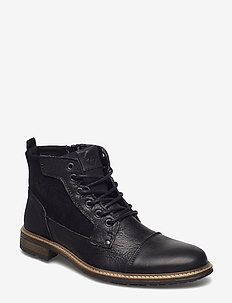 COUTINHO - kängor med snörning - black-leather