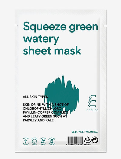 E NATURE Squeeze green watery  Sheet Mask - CLEAR