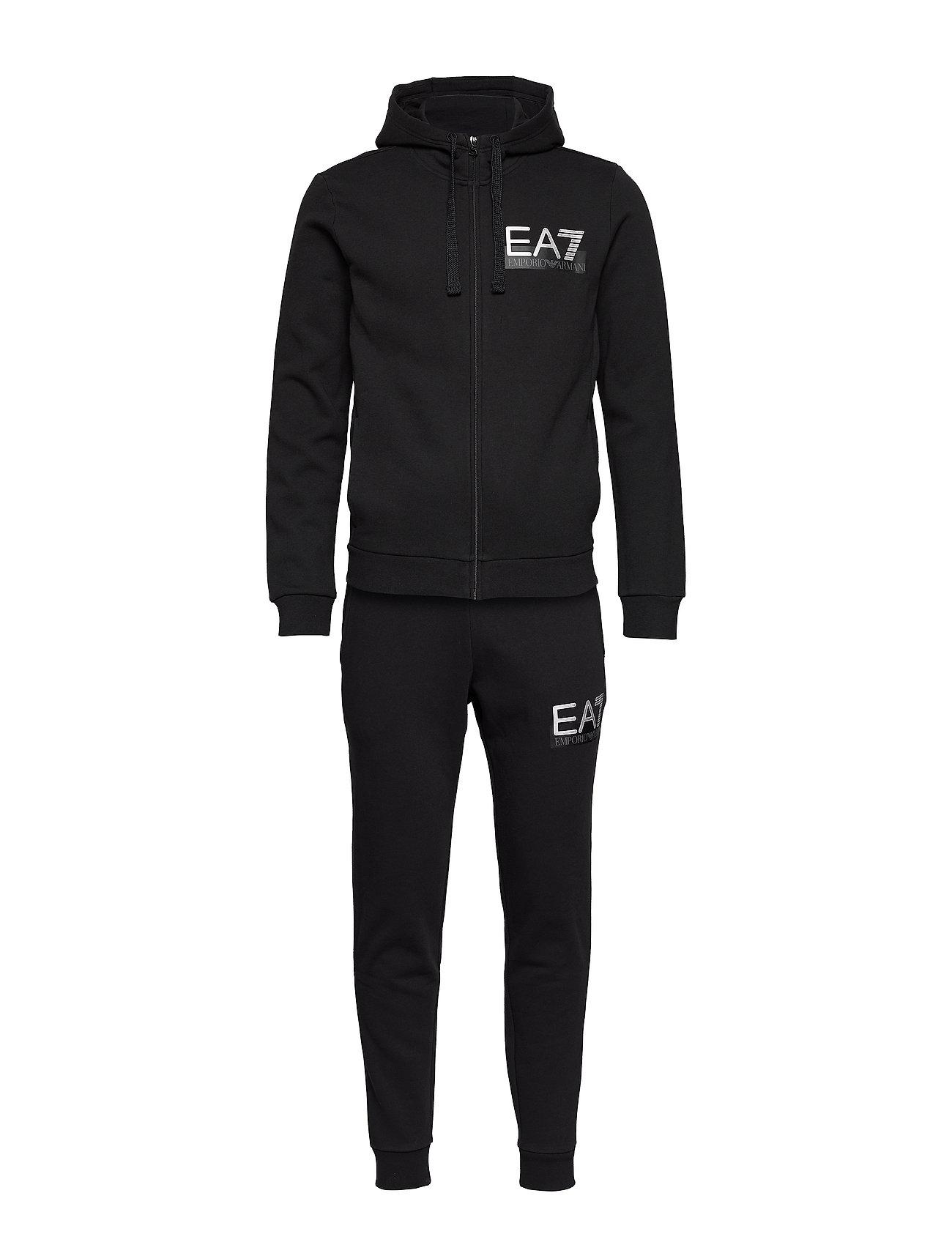 EA7 ZIP HOODIE TRACK SUIT - BLACK