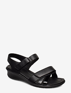 FELICIA SANDAL - flat sandals - black/black dark shadow metallic/black