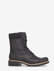 ELAINE - flat ankle boots - black/black