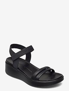 FLOWT WEDGE LX W - platta sandaler - black/black