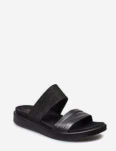 FLOWT W - flat sandals - black dark shadow metallic/black