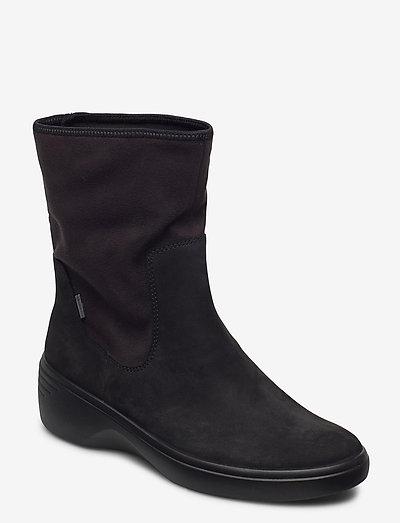 SOFT 7 WEDGE W - flade ankelstøvler - black/black