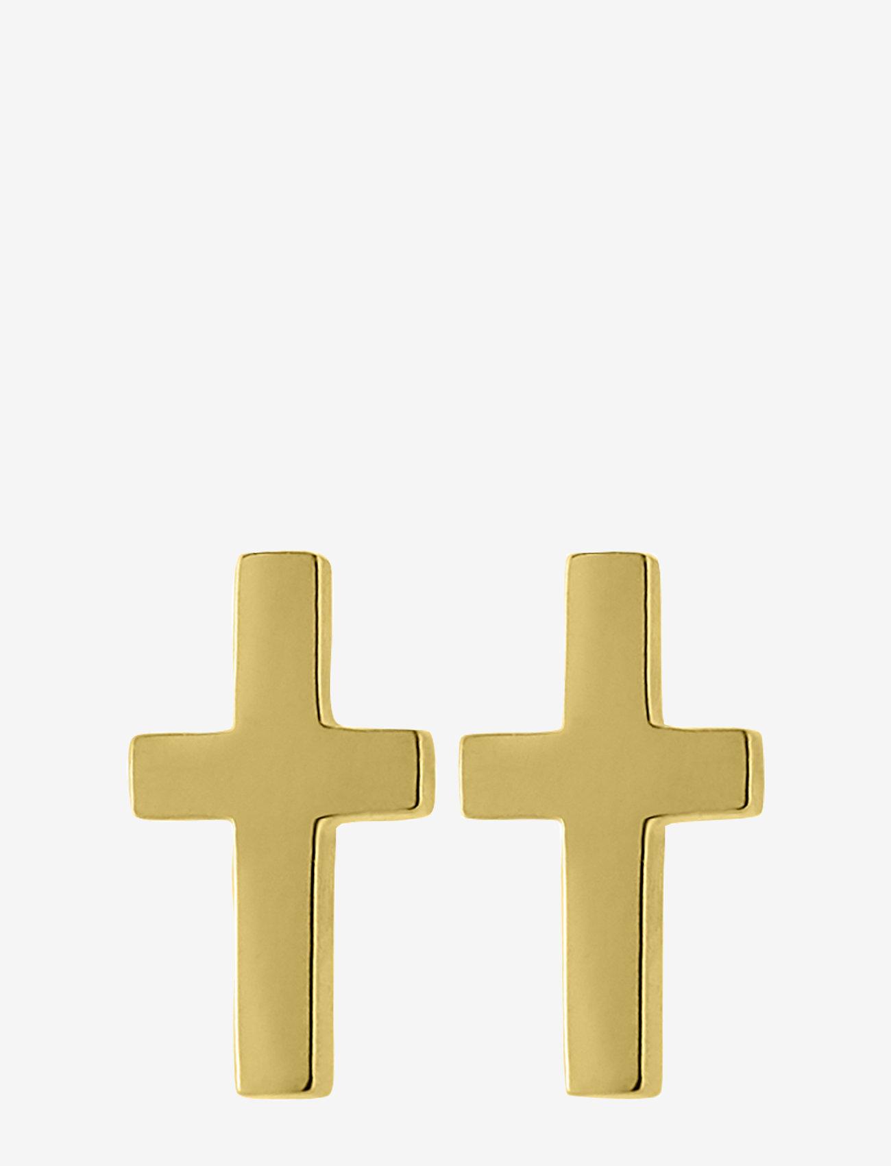 Edblad - Cross Studs Gold - studs - gold - 0