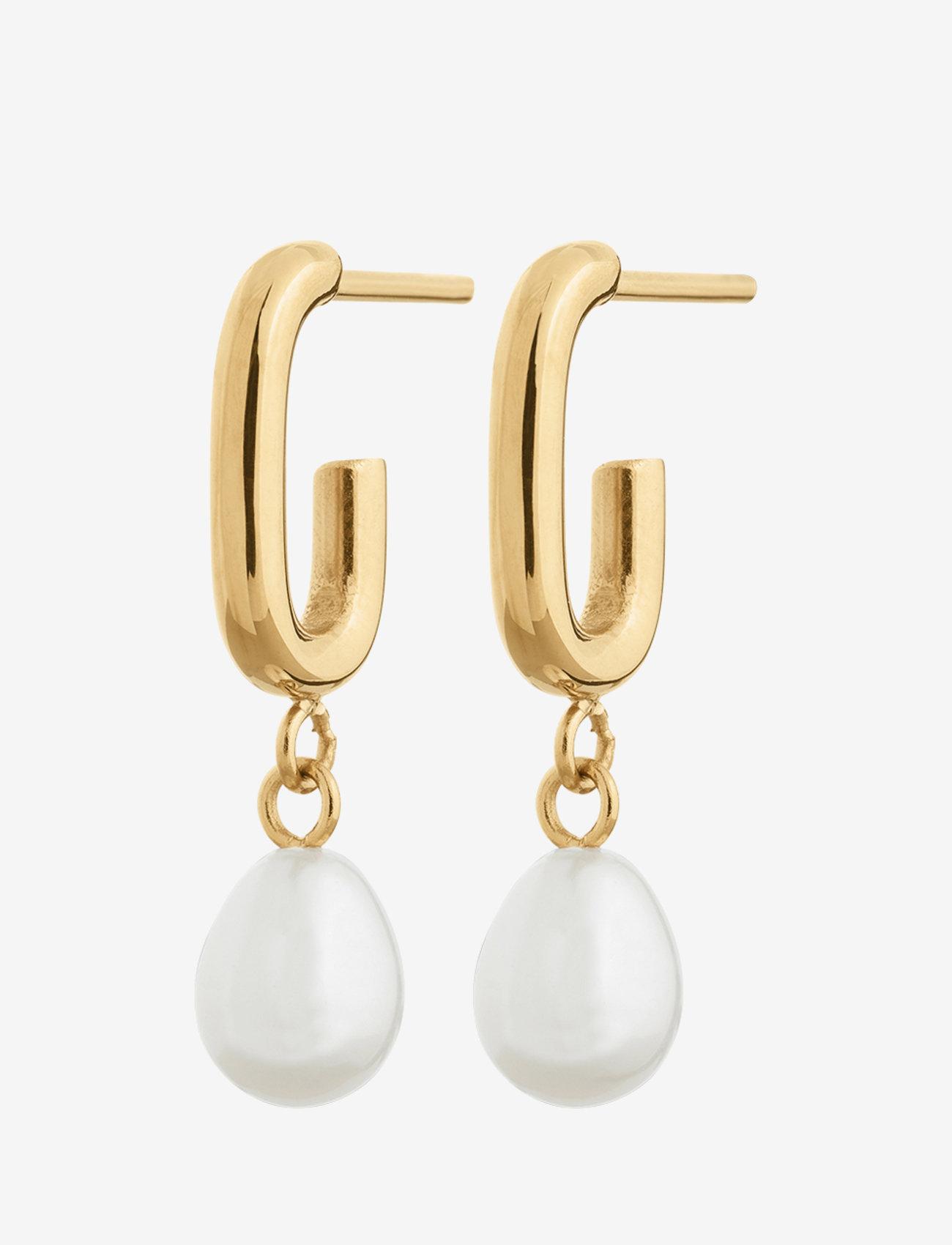 Edblad - Trellis Pearl Earrings - hängande örhängen - gold - 0