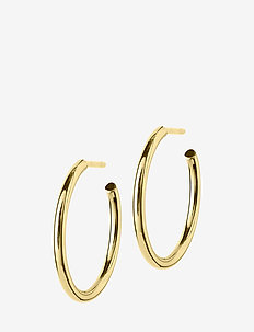 Hoops Earrings Gold Medium - korvarenkaat - gold
