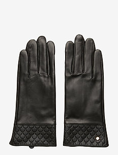Tiles Leather Glove Black - BLACK