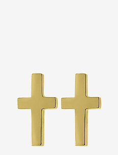 Cross Studs Gold - studs - gold