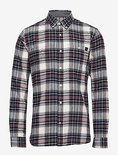 Tripple 10 Check Shirt - OXBLOOD RED