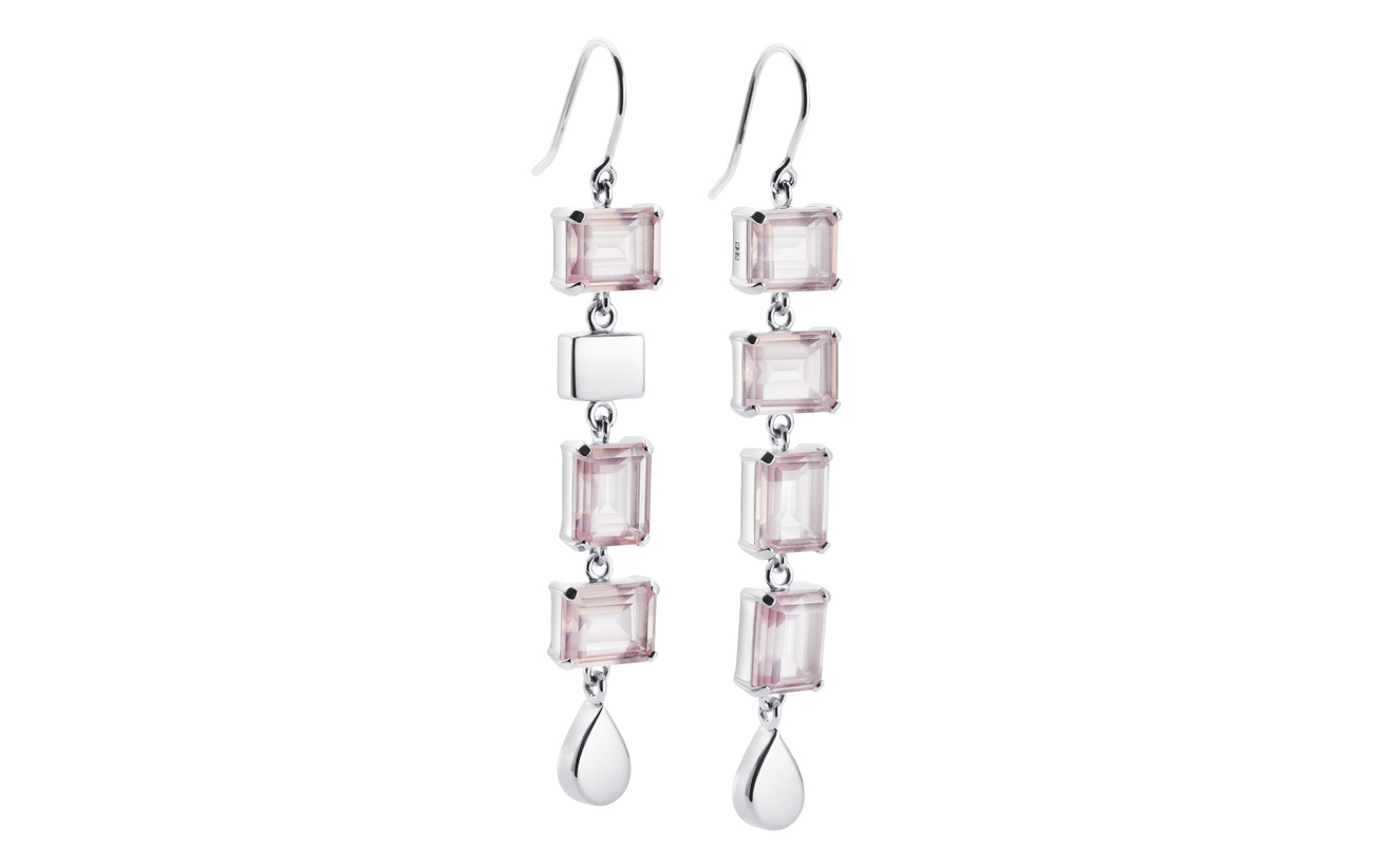 Efva Attling Crystal Fall Earrings - Rosé Dream - SILVER
