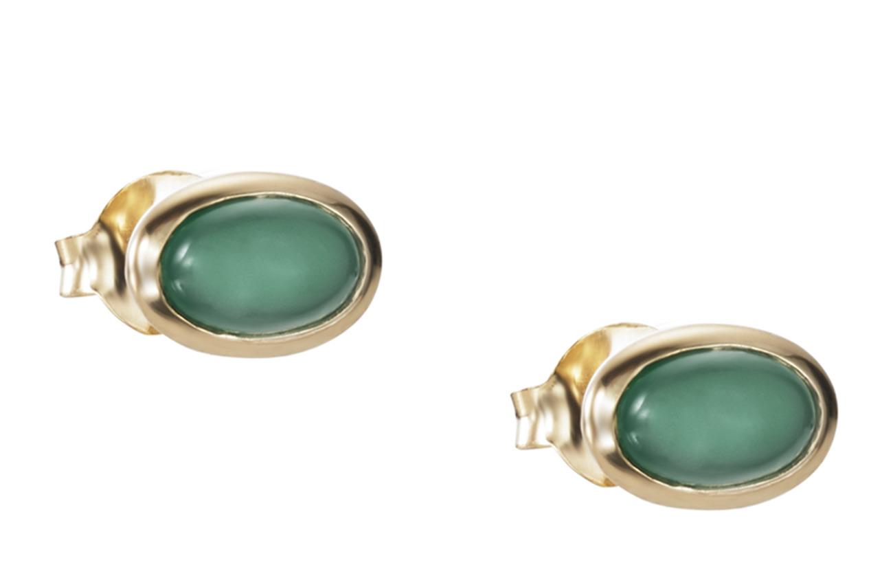 Efva Attling Love Bead Ear - Green Agate - GOLD