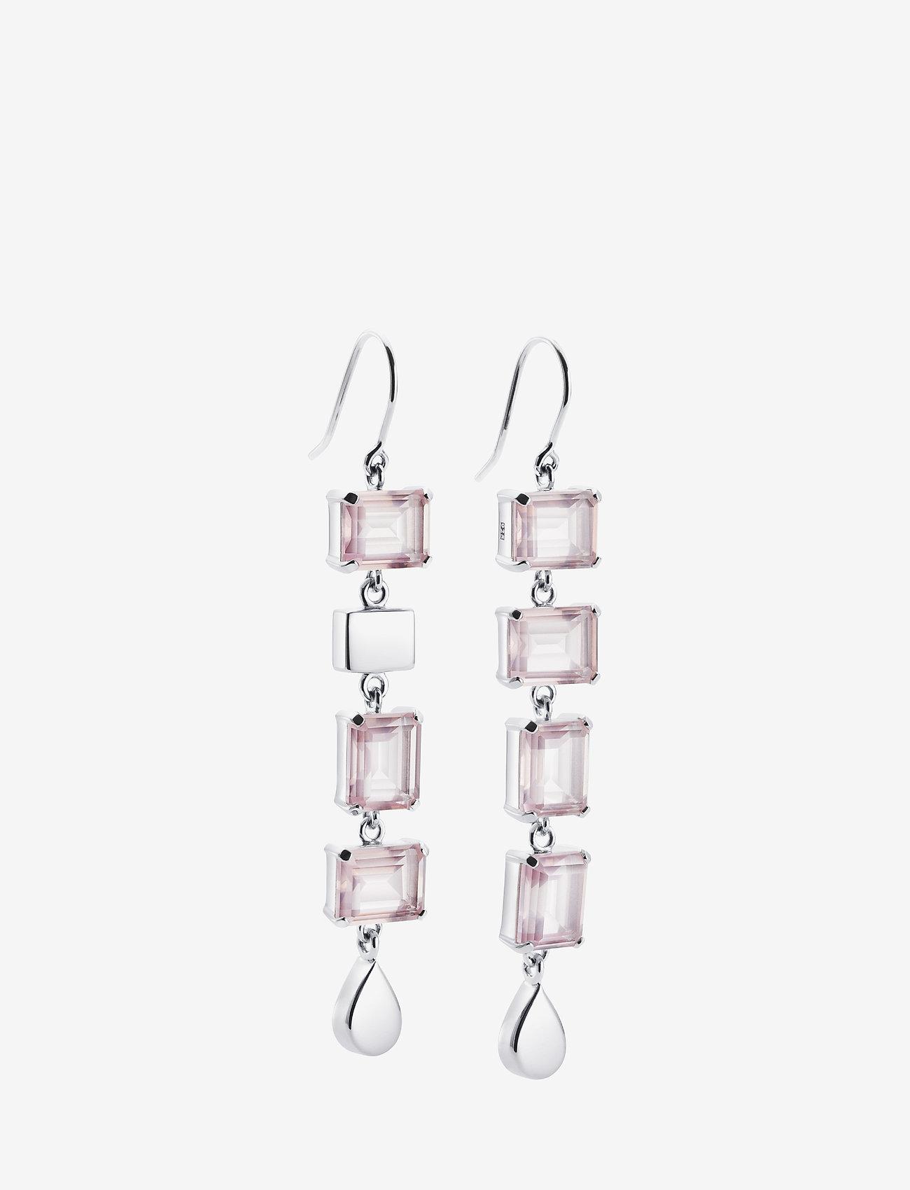 Efva Attling - Crystal Fall Earrings - Rosé Dream - statement earrings - silver - 0