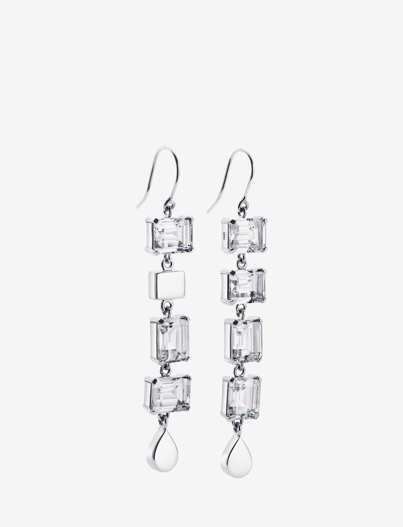 Efva Attling - Crystal Fall Earrings - Clear - statement earrings - silver - 0