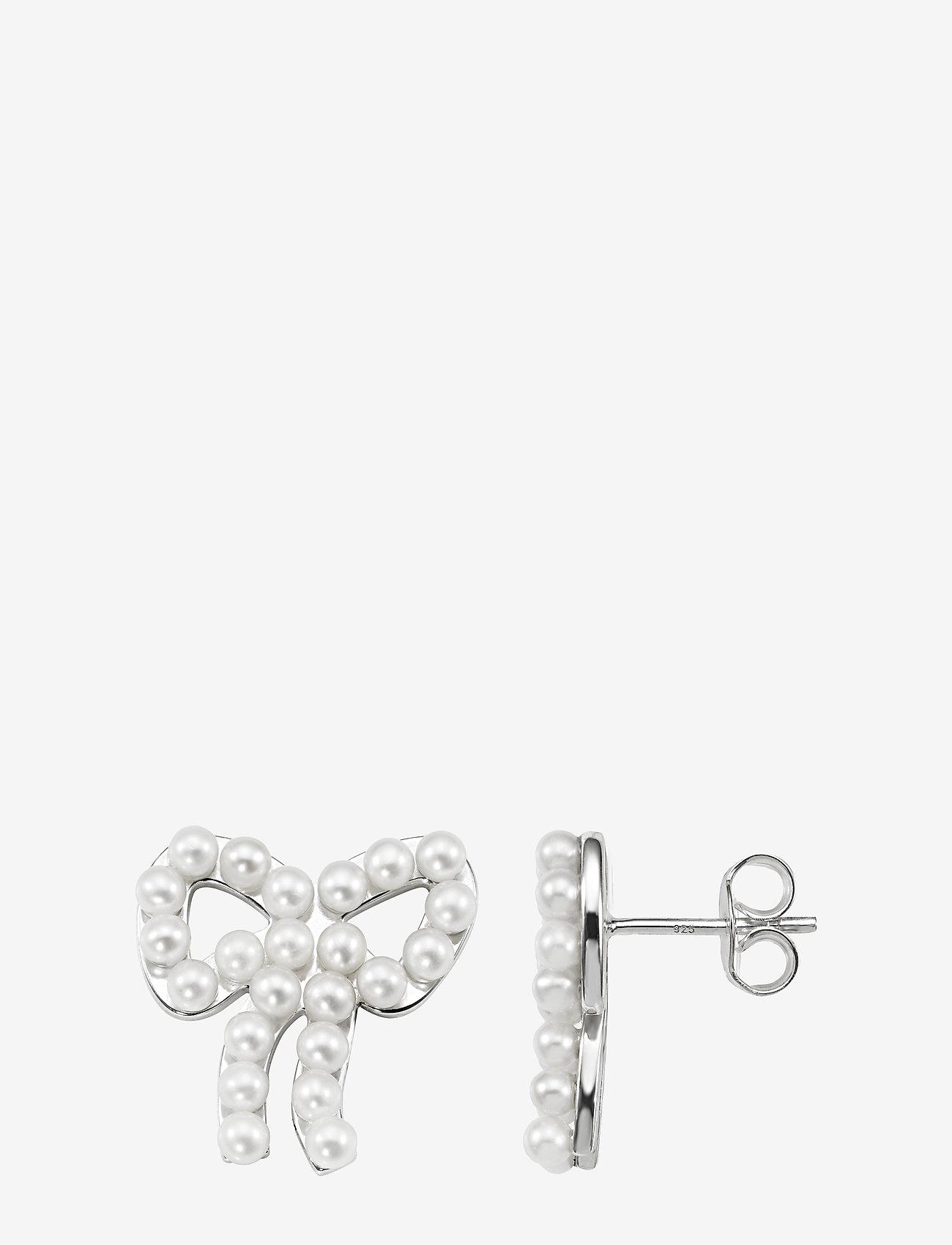 Efva Attling - Mini Pearls Bow Ear - studs - silver - 1