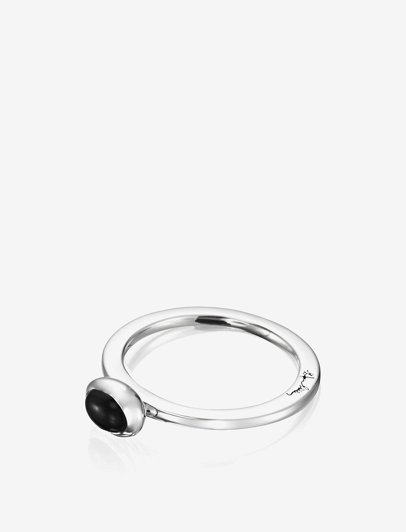 Efva Attling Love Bead Ring Silver - Onyx - Biżuteria SILVER - Akcesoria