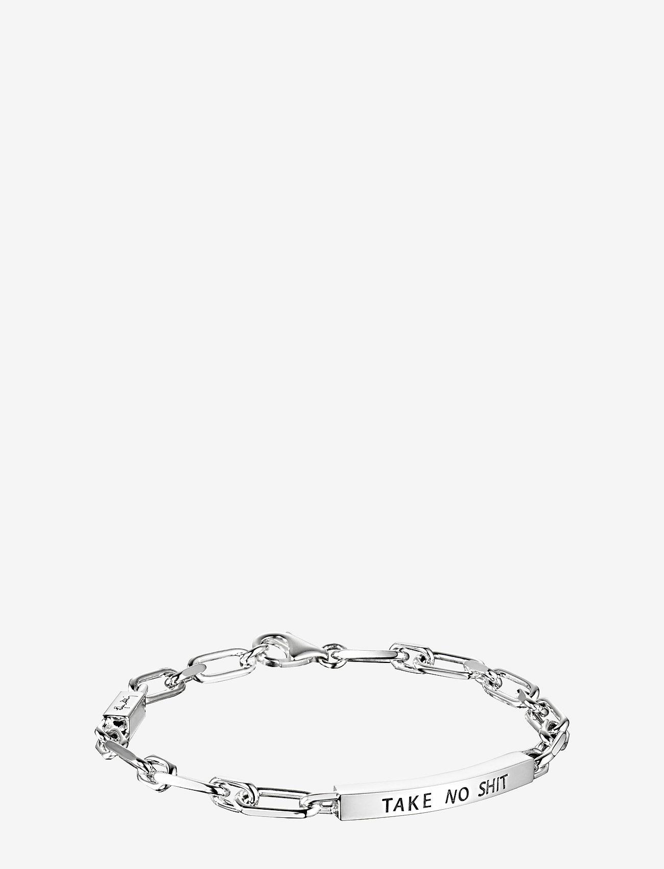 Efva Attling - Thin Silver Bracelet - Take No Shit - dainty - silver - 1
