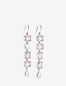 Crystal Fall Earrings - Rosé Dream - statement-øredobber - silver