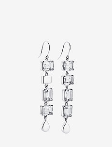 Crystal Fall Earrings - Clear - statement-øredobber - silver